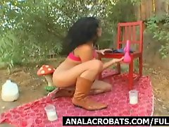 Vitiated chick is toying and also squirting