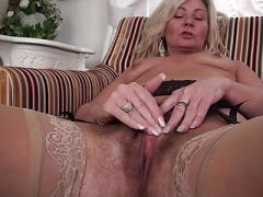 Hot hirsute granny jerking off