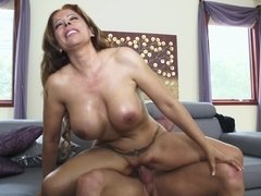 Milf slobbers on a fat cock that fucks her slutty pussy
