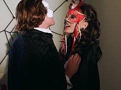 美女, フェラチオ, 茶髪の, マスク, 淫乱熟女, オフィス, フェラする, 濡れ