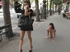 European girl enthralled in public
