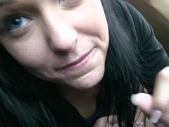 Great blowjob done by a dark-haired babe to her man in his car