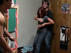 Studentin, Hochschule, Paar, Freundin, Hardcore, Zierlich, Rotschopf, Dürr