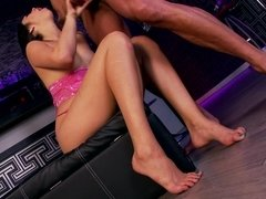 Brunette with sexy feet gets her pussy fucked while in a club
