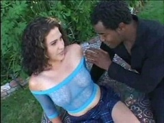 Youthful bitch gets black rod in both holes