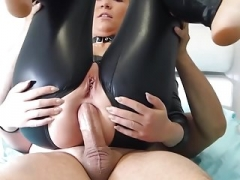 Blonde Bitch In Black Latex Spandex Catsuit Fucked