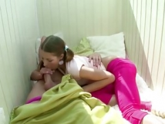 Small Step-Sister Wake up Brother with Blow and get Fuck