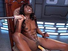 Athletic black woman with big clit machine sex