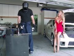 Stunning blonde darling gets rammed by a stud in the garage