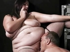 Breasty fatty rides cock after cunilingus