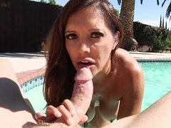 Brown haired Latina mom is down to suck a big dick outdoors