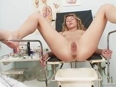 Vanesa extreme cum bucket gaping on gyno chair at kinky gyno