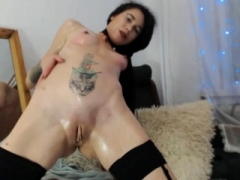 Lustful fisting by beautiful young brunette in stockings