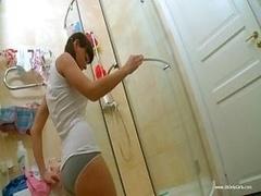 Sexy Dilettante 18-19 y.o. Girl Wanking Asshole In Shower