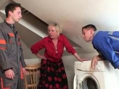 Mature grandma spreads legs for two repairmen