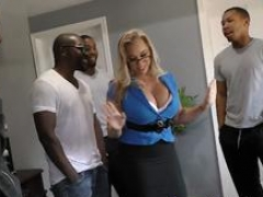 Cougar Amber Lynn Bach Takes A duo Black Dongs