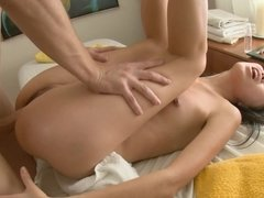 Asian woman is getting her sexy and slim body massaged with dick