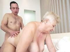 Kinky granny Astrid seduces excited Rob and gets down and dirty him wildly