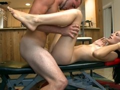 A fine woman is getting ravaged by her masseur in this scene