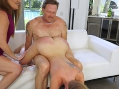 Milf watches her husband fuck this tattooed young slut