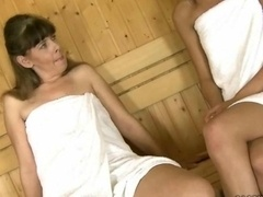 Granny and furthermore 18-19 y.o. have sex in the sauna