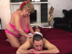 Adult bbw granny is feeling ready to blow that stiff member and then to get it between her legs by her lover