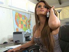 Américain, Gros seins, Brunette brune, Mignonne, Mère que j'aimerais baiser, Bureau, Secrétaire, Grande