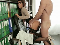Steamy office sex in clothes