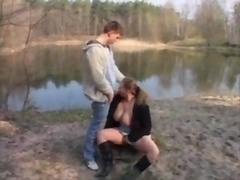 Eager mom with big tits fucked hard outdoor