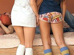 18 летние, Брюнетки, Две девушки, Группа, Трусики, Школьница, Тощие, Молоденькие