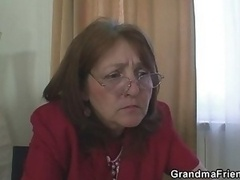 Bossy mature dame takes a couple of thick purple rods at a single time