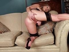 Abi teasing in Stockings