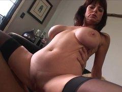 Big tits milf hottie Karen Cougar climbs aboard the boner