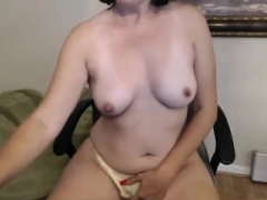 Pretty brunette fingering in panties