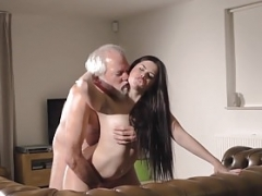 18-19 y.o. Interrupts Grandpa from Yoga And furthermore Gives head his Cock wet