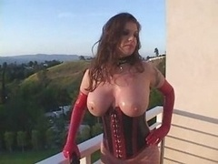 big boobs red latex glovers