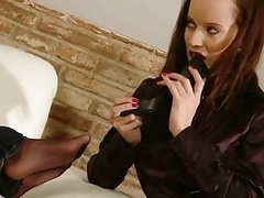 Sensual lesbian foot enjoying