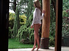 Chica, Belleza, Natural, Al aire libre, Coño, Mojado