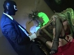 British blonde gets fucked in a spooky house by a masked fella