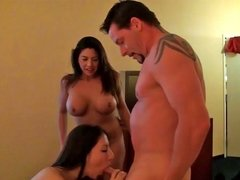 Adorable cuties giving head and getting smacked during group affair