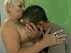 Obese grown-up teacher banging with her student