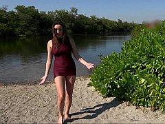Playa, Tetas grandes, Tetona, Vestido, Al aire libre, Calientapollas, Tetas, Mojado