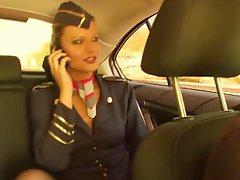 Banging the flight lascivious stewardess