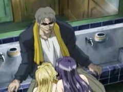 Public bathroom 3some with a couple of anime sluts