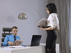 Chica, Morena, Vestidas, Europeo, Gafas, Oficina, Secretaria, Chupando