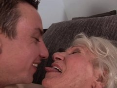 A granny that loves young guys is getting her hairy fat pussy pounded