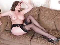 Redhead Soccer mom masturbates big dildo in vintage lingerie nylon