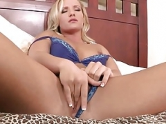 Boobalicious blonde fingering before riding lad