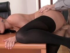 Adorable dark haired secretary is eager to satisfy her well hung boss