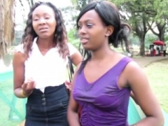 Hot African lesbians admire showering together